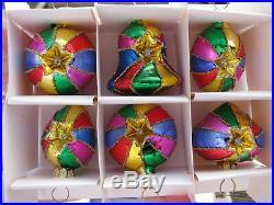Vintage Original Box Poland Handmade Mercury Glass Christmas Tree Star Ornaments