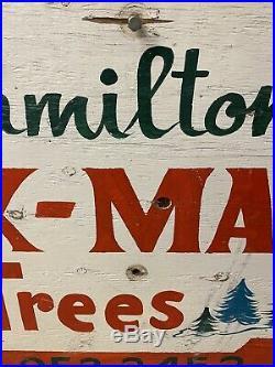 Vintage Original Hamiltons Christmas Tree Farm Sign Hand Lettered 2 Sided