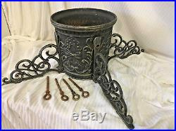 Vintage Ornate Victorian Style Cast Iron Heavy Metal Christmas Tree Stand
