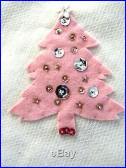 Vintage Oval White Felt Christmas Tablecloth Tree Skirt Pink Gold Net Sequins