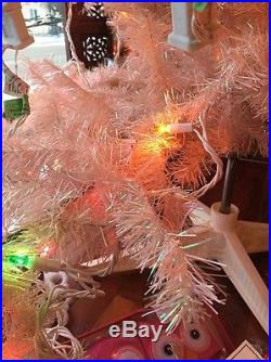 Vintage PINK Christmas Tree CANADA Silver Glitter