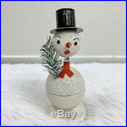 Vintage Paper Mache Nodder Snowman Christmas Candy Container Scarf Tree