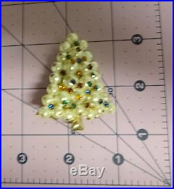 Vintage Pearls with Multi Color Crystal Christmas Tree Brooch Pin