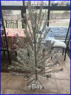 Vintage Peco 5 ft. 10 in. Silver Aluminum Christmas Tree Model 1622 46 branches
