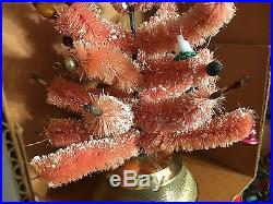 Vintage Pink Bottle Brush Musical Christmas Tree with Mercury glass candles bulbs