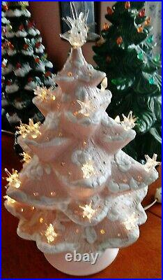 Vintage Pink & Rhinestone Ceramic Christmas tree