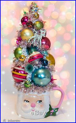 Vintage Pink Santa Cup with Bottle Brush Tree Decorated Christmas Ornaments
