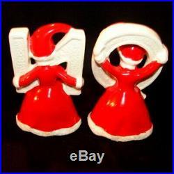 Vintage Pixie Girl NOEL Figurines with Bottle Brush Christmas Tree