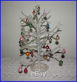 Vintage Plastic Gumdrop Tree with 27 Miniature Glass Christmas Ornaments