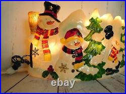 Vintage Plastic Outdoor Blow Mold Christmas Scene Snowmen and Trees 11x24 Inch