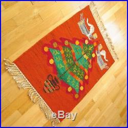 Vintage Polish HANDWOVEN WOOL KILIM CHRISTMAS TREE 70x90 cm Tapestry Rug