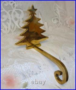 Vintage Polished Gold Brass Christmas Tree Mantel Hook Stocking Holder Hanger
