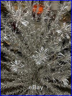 Vintage Pom Pom Silver Aluminum Christmas Tree 91 Branches