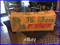 Vintage Pom Pom Sparkler Aluminum 4 Ft/34 Branch Christmas Tree Good Condition