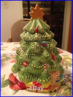 Vintage Porcelain Ceramic Christmas Tree Cookie Jar w Teddy Bear & Presents Rare