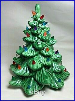 Vintage Porcelain Ceramic Christmas Tree Lamp Light Multi Colored 11.5 1970`s