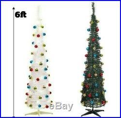 Vintage Pre Lit Slim Christmas Tree 6ft LEDS Pop Up Xmas Artificial + Baubles