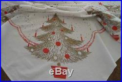 Vintage Printed Cotton Christmas Tablecloth Retro Trees California Hand Prints