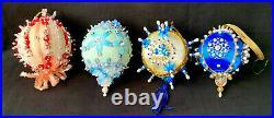 Vintage Push Pin Beaded Sequin Christmas Tree Ornaments Balls Lot (21) 70s Satin