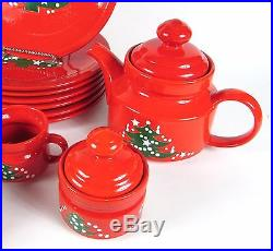 Vintage RARE LOT of 24 Christmas Tree W. Germany Dinnerware Plate & Serving Set