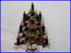 Vintage Rare Hard to Find Eisenberg Ice Christmas Tree with Candles Brooch Signed