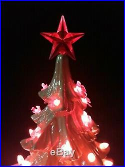 Vintage Rare Large 24 White Opalescent 2 Piece Ceramic Lighted Christmas Tree