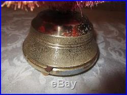 Vintage Red Bottle Brush Christmas Tree Mercury Glass Star music box Snow 12¾ H