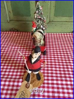 Vintage Red Metal Wagon Putz Sheep Bottlebrush Tree Xmas Elf Diane Freeman Mouse