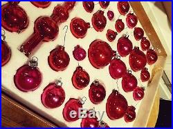 Vintage Red and pink glass CHRISTMAS ORNAMENTS 65 tree topper USA Boxed Set