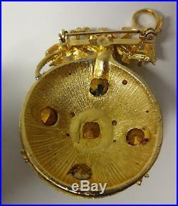 Vintage Retro 50-60s Christmas Tree Ornament Rhinestone Gold Tone Pin Brooch