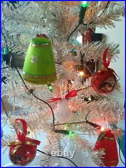 Vintage Retro Christmas Tree & Decorations 1970s 3ft Tall