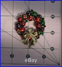 Vintage Rhinestone Enamel Christmas Tree Ornaments Wreath Pin Brooch