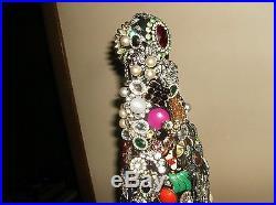 Vintage Rhinestone Jewelry Christmas Tree Art Not Framed 21 Victorian Cottage