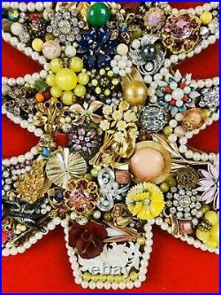 Vintage Rhinestone Jewelry Christmas Tree Framed Art Picture 16 X 20