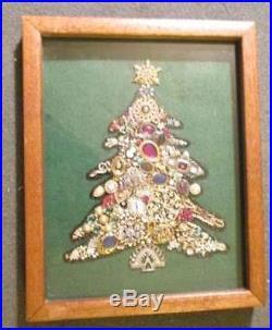Vintage Rhinestone Jewelry Christmas Tree Framed Art Shadow Box