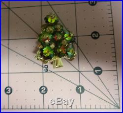 Vintage Rivoli Christmas Tree Watermelon Flowers Cut Color Rhinestone Pin Brooch