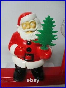 Vintage Royal Electric Light Santa Holds Tree w 2 Halo Candles on Platform