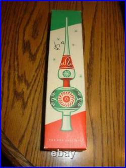 Vintage SHINY BRITE Western Germany- Mercury Glass Mica Ornament Tree Topper Box