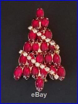 Vintage SIGNED Attruia Red Crystal Christmas Tree Pin Brooch with Hanging Garland
