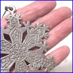 Vintage STERLING SILVER Snowflake Christmas Tree Decoration 1971 Very LARGE 28g