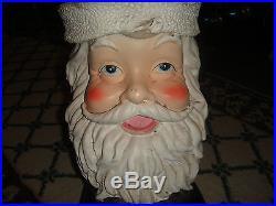 Vintage Santa Claus Tree Stand-Cement Plaster Santa Big Boot Tree Stand-RARE-WOW