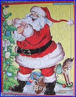 Vintage Santa Claus trims Christmas Tree Frame Tray Puzzle Whitman USA 1947