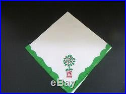 Vintage Set 12 Madeira Christmas Holly Topiary Tree Embroidered Applique Napkins