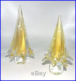 Vintage Set 2 Murano Italy Gold Fleck In Clear Twist Swirl Christmas Tree Trees