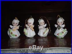Vintage Set Lot RARE Mini Angel Christmas Tree Ornaments Japan Poinsetta Dainty