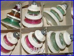 Vintage Shiny Brite 12 Snow Cap UFO Lantern Flock Mica Christmas Tree Ornaments