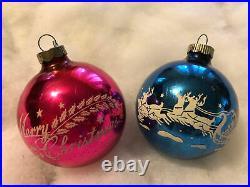 Vintage Shiny Brite Christmas Tree Ornaments 12 Stencil Round Ball Mica Glitter