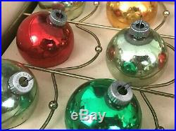 Vintage Shiny Brite Glass Ornaments Cathedral Window Centerpiece Christmas Tree