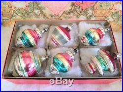 Vintage Shiny Brite & Premier Glass Xmas Ornaments Satelite Top & Tree Shapes