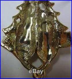 Vintage Signed AJC Cats Love Celebrate Too Christmas Tree Gold Tone Pin Brooch